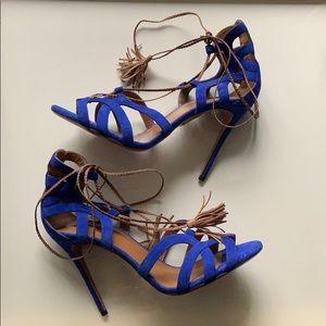 Aquazurra Mirage Cobalt Leather Sandals Sz. 40